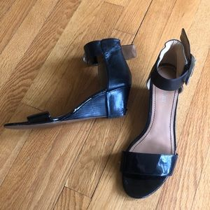 Nine West Black Shiny Wedge Heel Sandals